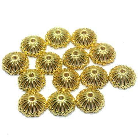 50 Pcs. Silk Thread Jewellery Making Acrylic Bead Caps Golden, Size 19x8 mm
