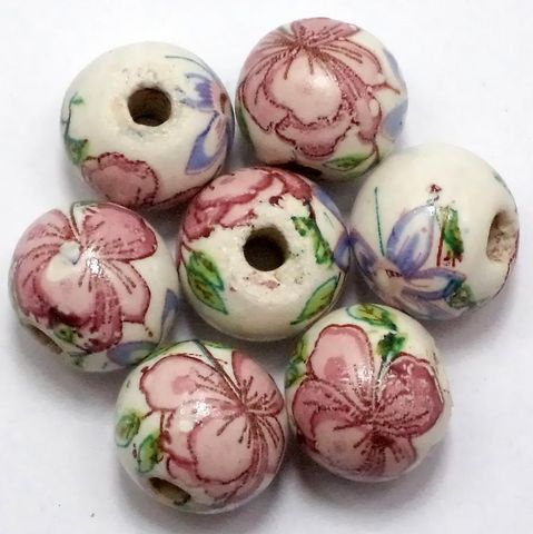 20 Ceramic Fancy Round Beads 15 mm