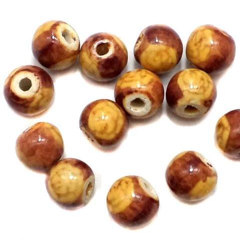20 Ceramic Round Beads Brown 14mm