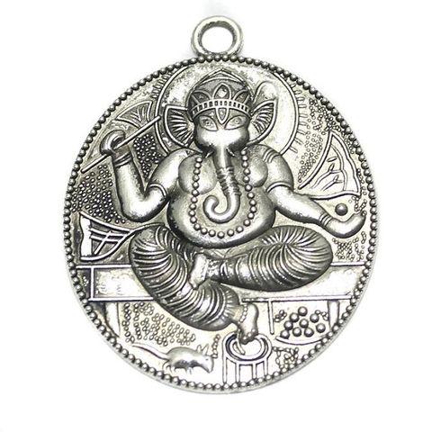2 German Silver Lord Ganesh Pendant 52x40mm