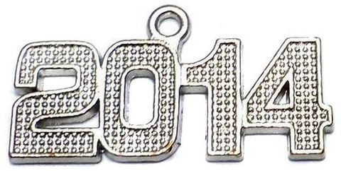 10 Silver Finish Pendant 2014 35x14mm