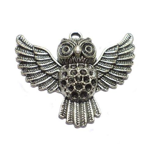 2 German Silver Owl Pendant 34x48mm