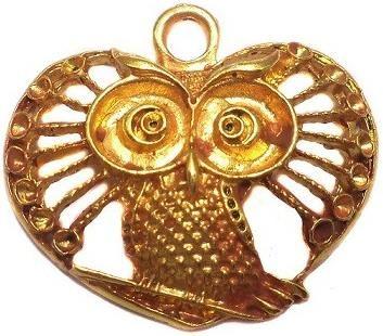 2 German Silver Owl Pendant 30x40mm