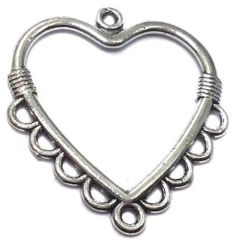 12 German Silver Heart Pendants Charm 32x32mm