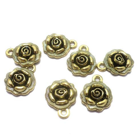 25 Pcs. German Silver Flower Charms Golden 17x14 mm