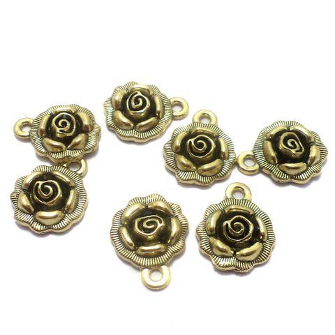 25 Pcs. German Silver Flower Charms Golden 17x14 mm