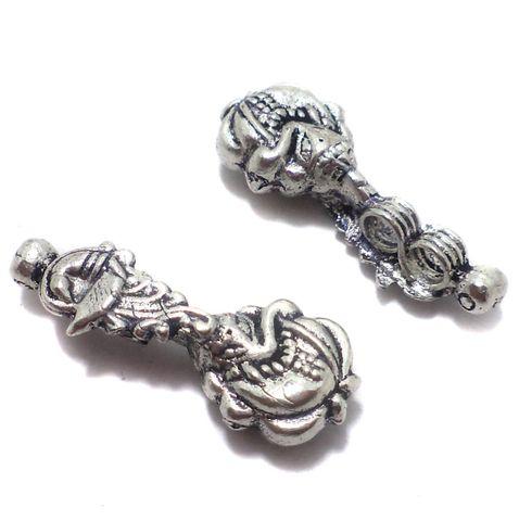 10 Pcs. German Silver Lord Ganesha Charms Silver 34x13 mm