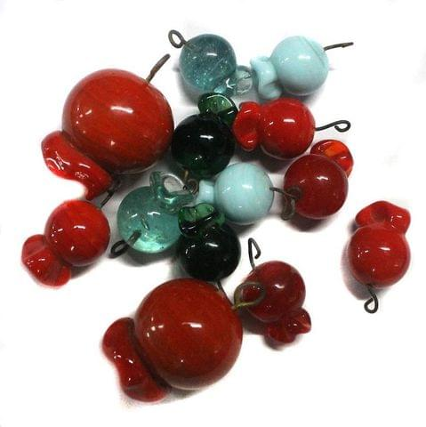 20+ Glass Charms Assorted 17-35 mm