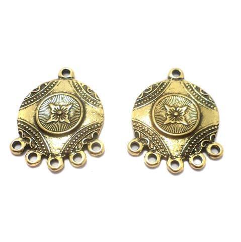 10 Pcs. German Silver Earring Components Golden 29x23 mm