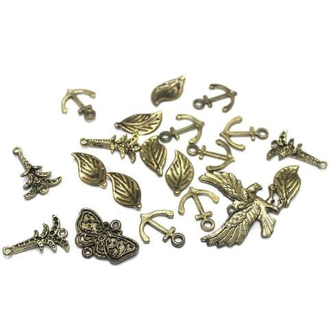 20 Metal Pendant Charms Assorted