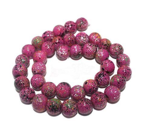 35+ Hand Printed Wooden Round Beads Magenta 12 mm