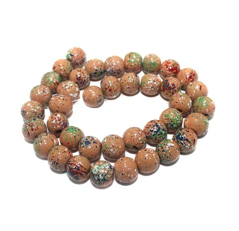 35+ Hand Printed Wooden Round Beads Assorted 12mm