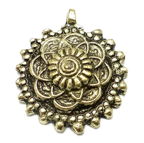 Antique Golden Metal Flower Pendant 58mm