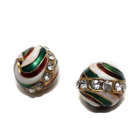 2 Meenakari Round Beads Multi 14mm
