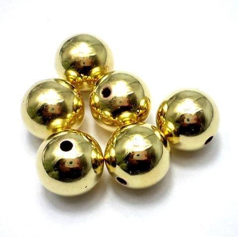 35+ CC Round Beads Golden Finish 14 mm
