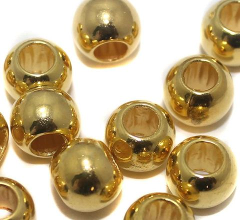 100 CCB Round Beads Big Hole Golden 10 mm