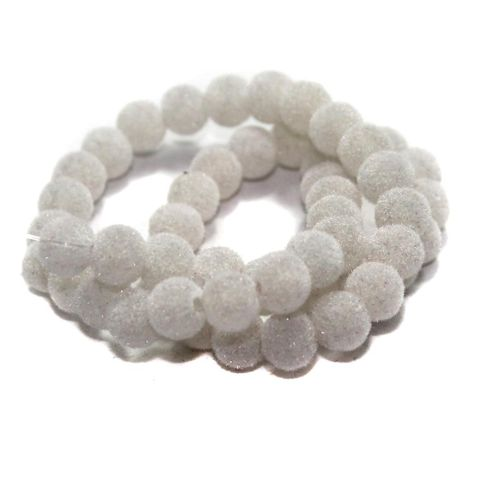 5 Strings Glass Velvet Round Beads White 8 mm