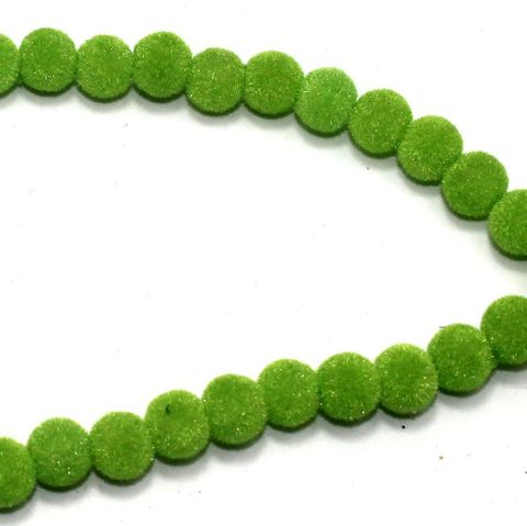5 Strings Glass Velvet Round Beads Peridot 8 mm