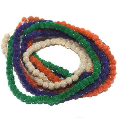 5 Strings Velvet Glass Round Beads Assorted 3 mm