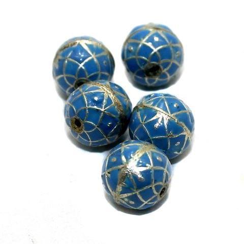 5 Meenakari Round Beads Turquoise 10mm