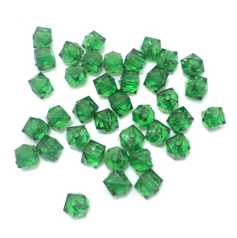 500 Pcs. Acrylic Faceted Crystal Cube Beads Trans Green 7mm