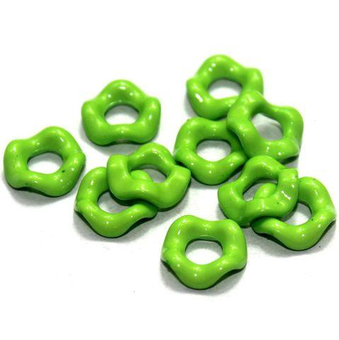 100 Acrylic Ring Beads Peridot 15mm