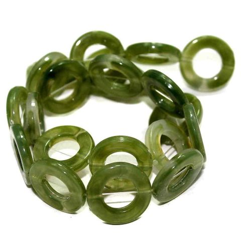 4 Strings Acrylic Ring Beads Green 20mm