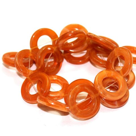 4 Strings Acrylic Ring Beads Orange 20mm