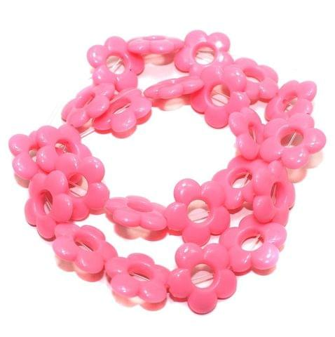 40+ Acrylic Flower Beads Hot Pink 18mm