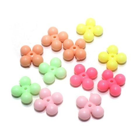 200 Acrylic Flower Beads Assorted 9mm