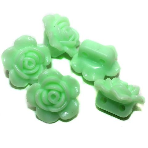 40 Acrylic Rose Flower Beads Pridot 18mm