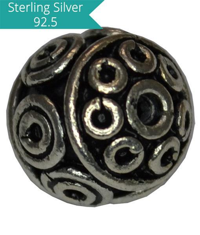Sterling Silver Round Handmade Bead