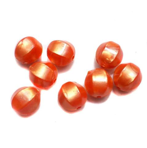 100 Acrylic Pearl Finish Beads Orange 12 mm