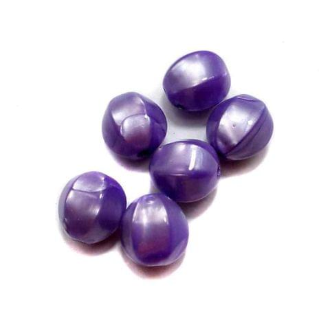 100 Acrylic Pearl Finish Beads Violet 12 mm