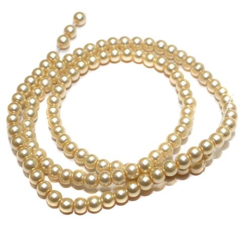 105+ Glass Pearl Round Beads Ivory 4mm