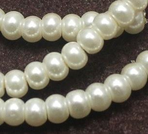 10 Strings Of Glass Pearl Beads Round White 5mm
