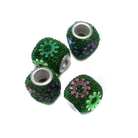 10 Pcs. Lac Tyre Beads Green 10x12mm