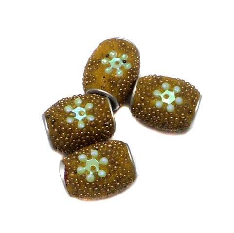 10 Pcs. Lac Oval Beads Yellow 13x9mm