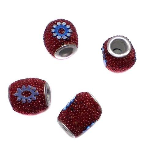 10 Pcs. Lac Oval Beads Red 10x8mm