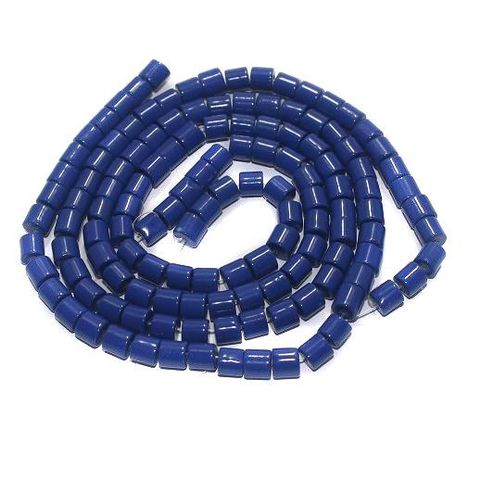 5 strings Glass Tyre Beads Blue 6mm