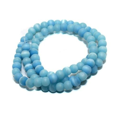 5 strings Glass Round Beads Turquoise 6mm