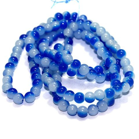 5 String Glass Round Beads Blue 6mm