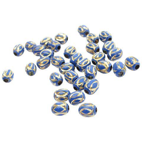 Buy 1 Get 1 Pack Free Blue Metallic Gold Engraved Bead