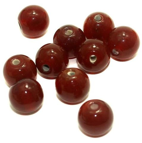 25+ Glass Round Beads Red 14mm