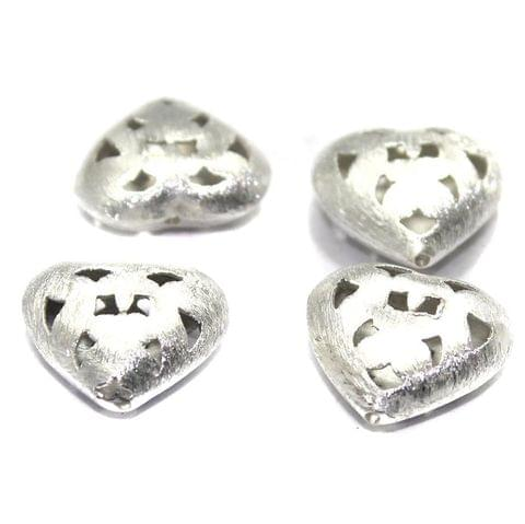 10 German Silver Brushed Beads Heart 20mm
