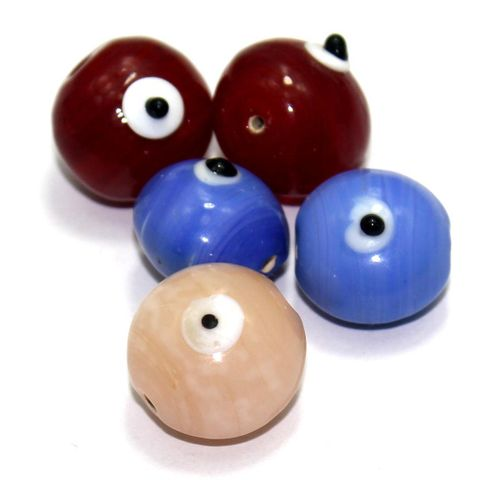 10 Bump Eye Beads Assorted 18x20mm