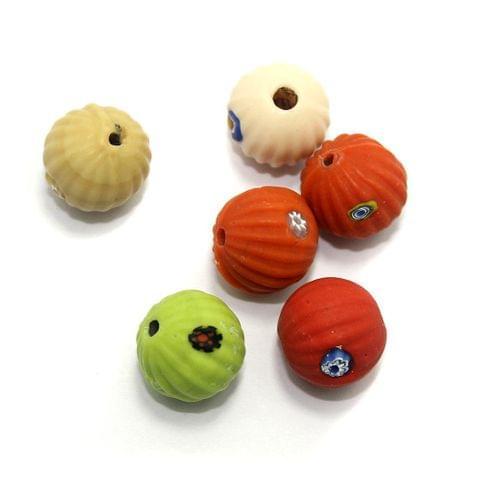 10 Melon Chevron Round Beads Assorted 20mm