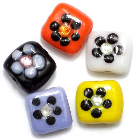 10 Fancy Flower Flat Cube Beads Assorted 14mm