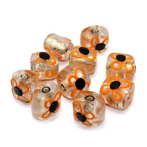 10 Silver Foil Flower Beads Orange 16x13mm