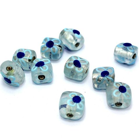 10 Silver Foil Flower Beads Turquoise 13x16mm